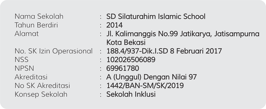 Identitas SD Silaturahim islamic School